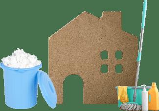 家と清掃道具
